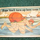 Hope You'll Turn Up Here Soon Swimming Comical Postcard