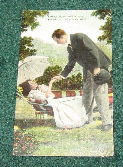 Lady in Hammock German Postcard R-2