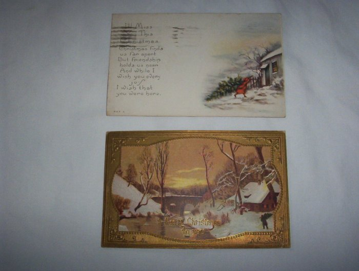 2 Christmas postcards lot c 8-snow scenes