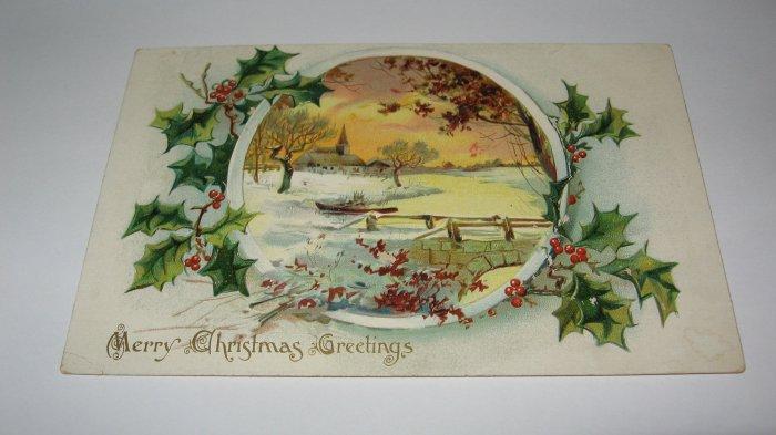 Raphael Tuck & Sons Merry Christmas Greetings Christmas Postcard