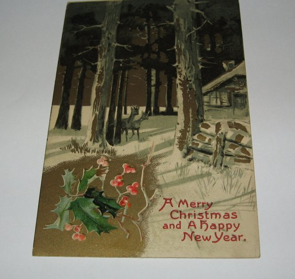 A Merry Christmas and a Happy New Year Deer Postcard lot  c 34