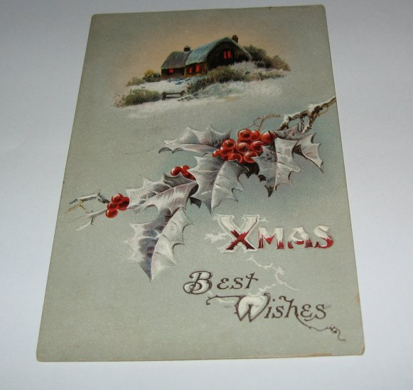 Xmas Best Wishes Embossed Christmas Postcard lot  c35