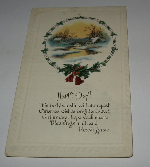 Happy Day Christmas Postcard,embossed lot  c 43