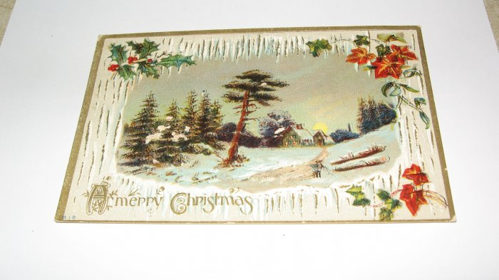 Icicles and holly Christmas postcard C59