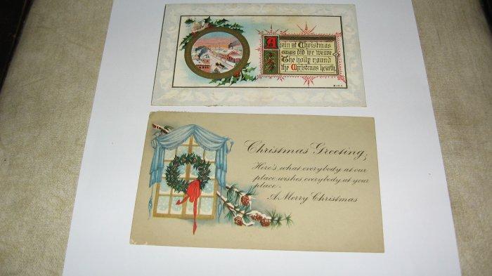 2 Christmas Greeting Postcards C63