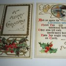 2 Bells and holly embossed Christmas Postcards lot  C66