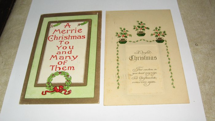 2 postcards-A Merrie Christmas lot  C69