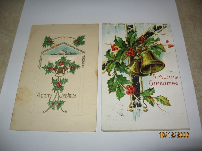 2 Bells Embossed Christmas Postcards lot 72