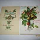 2 Bells Embossed Christmas Postcards lot 72