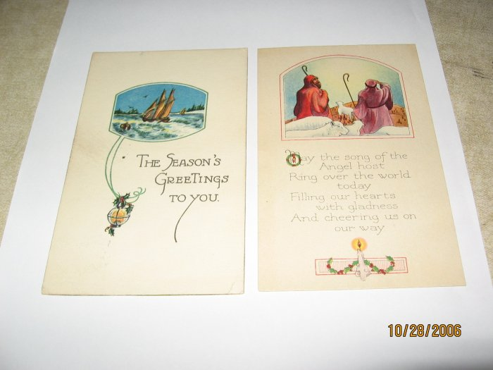 2 Christmas Postcards Shepherds and sailboat lot 82