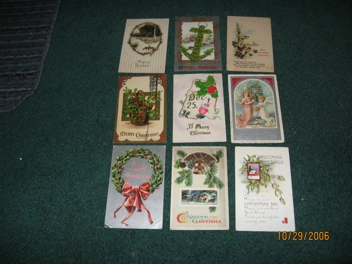 9 Christmas Postcards birds,deer,angels,holly  lot 85