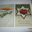 2 Christmas Postcards Snow Scene and Poinsettia Lot 91