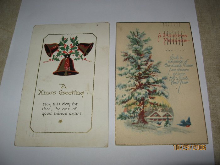Christmas Postcards lot of 2 Pine Tree and Bells lot  c 93