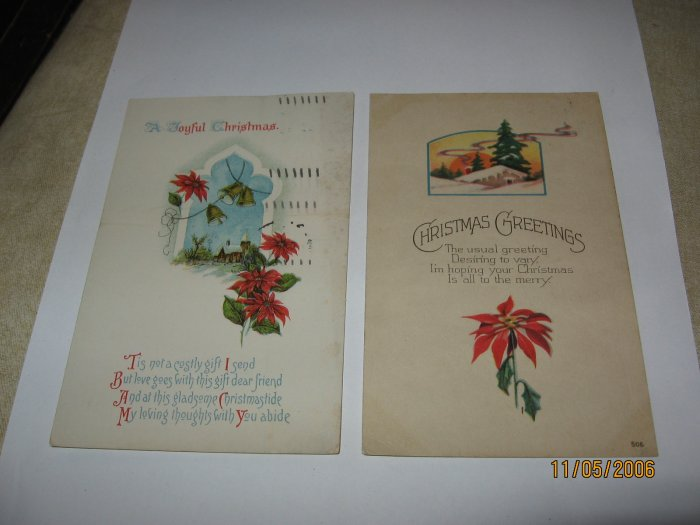 2 Christmas Postcards made in U.S.A. lot  c95