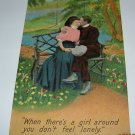 Bamforth Postcard Lady and Man Kissing in Park R-4