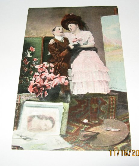 German Romance Postcard Man and Lady in Portrait Studio R-6