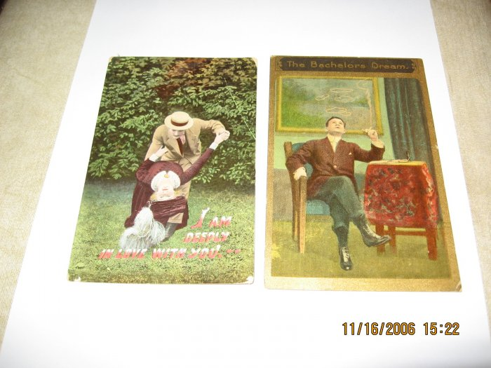 Lot of 2 Vintage Romance Postcards R-8
