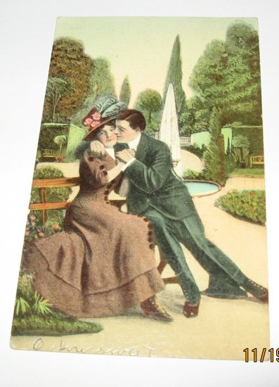 Man and Lady on Park Bench Vintage Romance Postcard R-9