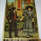 Vintage Romantic Postcard Man and Lady on Sidewalk R-12