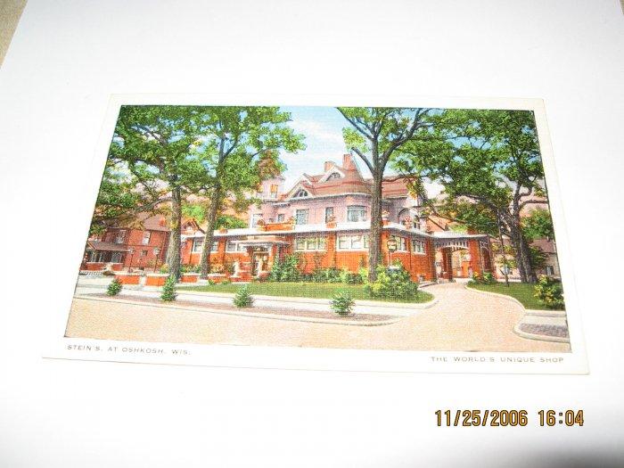 Steins at Oshkosh,Wis. postcard W16