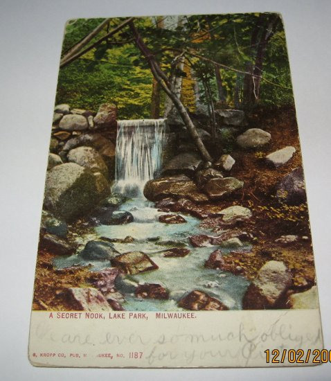 A Secret Nook Lake Park Milwaukee Postcard w29