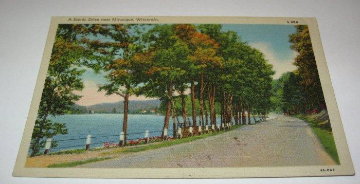 Scenic Drive near Minocqua,Wis.Postcard w34