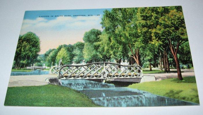 Lagoon In South Park Oshkosh,Wi postcard W38