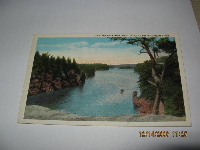 Up River From High Rock Wisconsin Dells,Wi. postcard W46