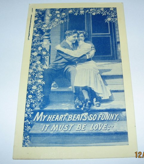 Man and Lady on Step Valentine Postcard R13