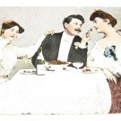Ladies and man dining vintage romance postcard R15