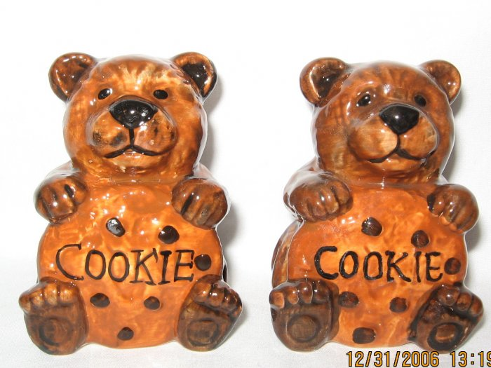 Brown Bear and Cookie Salt and Pepper Shakers