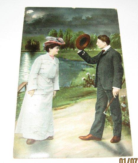 Man and Lady by lake vintage romance postcard R20