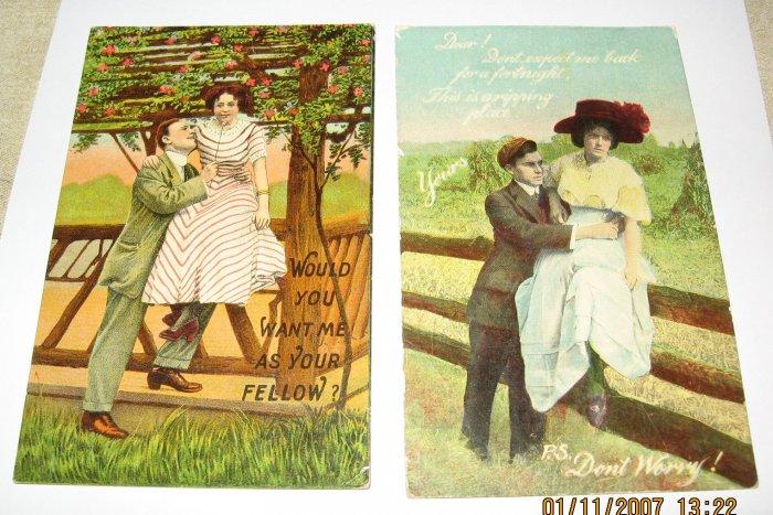 2 Vintage Romance  Postcards R23