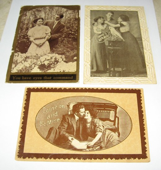 3 Black and White Romantic Postcards R24