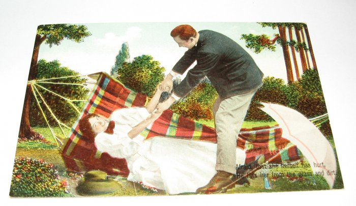 Lady with Umbrella in Hammock German Romantic Postcard R25