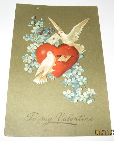 Doves and Heart Valentine Embosed German Postcard R28