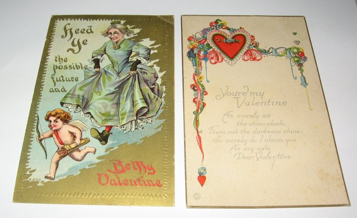 2 Valentine Postcards cupid and hearts R35