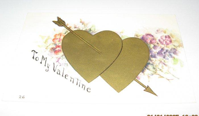 Vintage Valentine Postcard Gold Hearts R39
