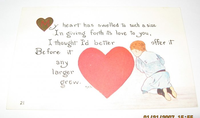 Boy and Heart Vintage Valentine Postcard R40