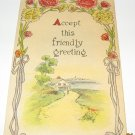 Friendly Greeting Vintage Flower postcard G1