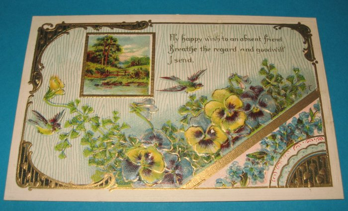 German Violets and Birds Postcard G5