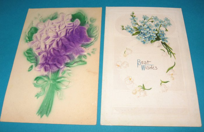 2 embossed Greeting Postcards G6