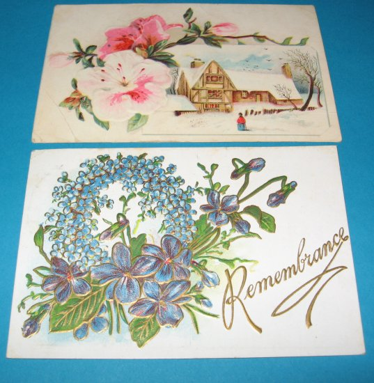 2 embossed Greeting Postcards Blue Wreath G7