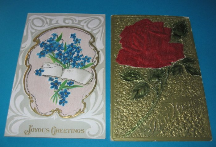 Rose and Violets embossed postcard G10