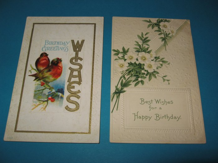 Birthday Postcards Birds and White Flowers B5