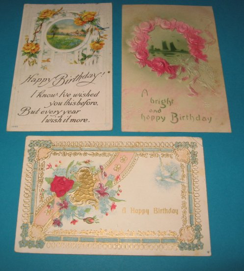 3 Happy Birthday Vintage Postcards B9