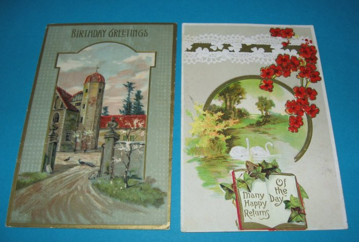 2 Happy Birthday Postcards Swans Church B11