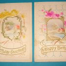 2 Birthday postcards with house scene B16