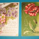Vintage German Embossed Flower Birthday Postcards B17