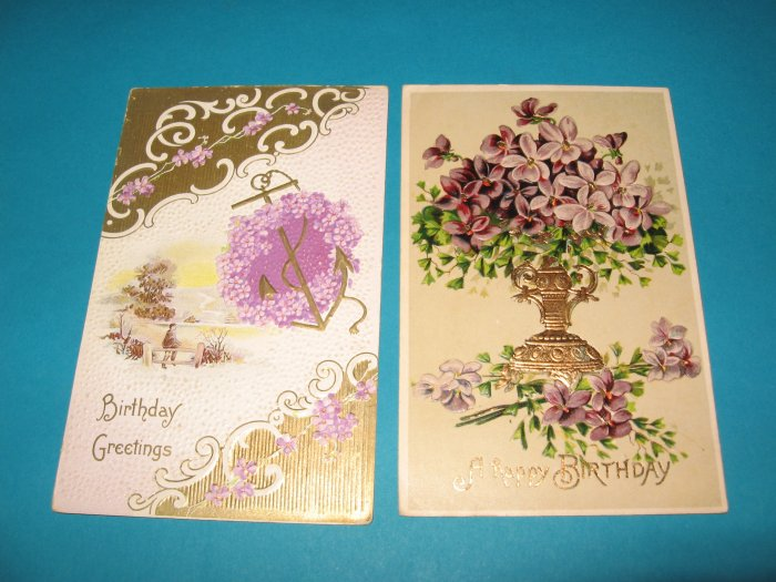 Purple Flowers Embossed Vintage Birthday Postcards B18